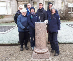 Photograph of Haddo House Sundial, staff and volunteers